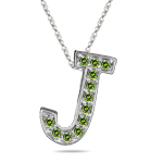0.24 Cts Green Diamond J Initial Pendant in 14K White Gold