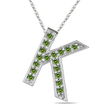 1/4 Cts Green Diamond K Initial Pendant in 14K White Gold