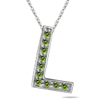 1/4 Cts Green Diamond L Initial Pendant in 14K White Gold