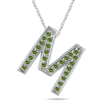 0.26 Cts Green Diamond M Initial Pendant in 14K White Gold
