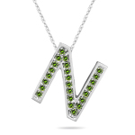 0.24 Cts Green Diamond N Initial Pendant in 14K White Gold