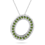 0.28 Cts Green Diamond O Initial Pendant in 14K White Gold
