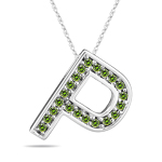 0.26 Cts Green Diamond P Initial Pendant in 14K White Gold
