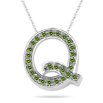 0.26 Cts Green Diamond Q Initial Pendant in 14K White Gold