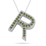 0.29 Cts Green Diamond R Initial Pendant in 14K White Gold