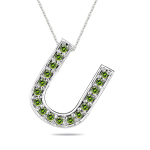 1/4 Cts Green Diamond U Initial Pendant in 14K White Gold