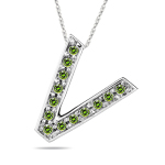 0.26 Cts Green Diamond V Initial Pendant in 14K White Gold