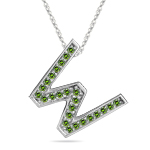 1/4 Cts Green Diamond W Initial Pendant in 14K White Gold