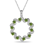 3/4 Cts Green & White Diamond Circle Pendant in 14K White Gold