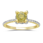 1.50 Cts Green & White Diamond Engagement Ring in 14K Yellow Gold