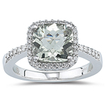 0.29 Ct Diamond & 3.47 Cts of 10 mm AA Cushion Checker Board Green Quartz Ring in 14K White Gold
