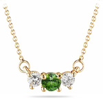 4 mm Green Tourmaline & 1/4 Cts Diamond Pendant in 18K Yellow Gold