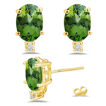 0.04 Ct Diamond & 1.70 AA Oval Cts Green Tourmaline Studs in 14KY Gold