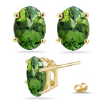 1.70 Cts of 7x5 mm AA  Oval Green Tourmaline Stud Earrings in 14K Yellow Gold