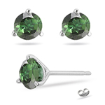 1.65 Cts Green Tourmaline Stud Earrings in 14K White Gold
