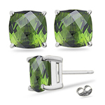 3.80 Cts of 7 mm AA cushion checker board Green Tourmaline Princess Cut Earrings in 14K White Gold