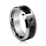 0.07 Cts Black Diamond  8 mm Ridged Tungsten Wedding Band with Carbon Fiber Center