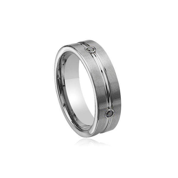 0.28 Cts Black Diamond 8 mm Grooved Tungsten Wedding Band