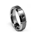 0.07 Cts Black Diamond 8 mm Beveled Edged Grooved Tungsten Wedding Band