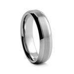 6 mm Beveled Edged Brushed and Satin Tungsten Wedding Band