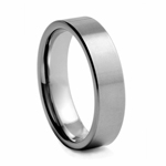 6 mm Brushed and Polished Flat Tungsten Wedding Band