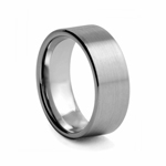 8 mm Brushed and Satin Polished Finish Flat Tungsten Wedding Band