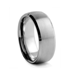 8 mm Beveled-Edge Brushed and Satin Finished Tungsten Wedding Band
