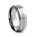 8 mm Brushed and Satin Finish Tungsten Wedding Band