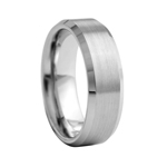 8 mm Beveled Edged Tungsten Wedding Band