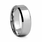 8 mm Beveled Edged High Polished Tungsten Wedding Band