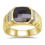 0.06 Cts Diamond & 10 mm AA Cush Check Onyx Men's Ring in 14KY Gold