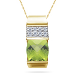 0.08 Cts Diamond & 2.04 Cts Peridot Slide Pendant in 14K Yellow Gold