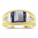 0.07 Cts Diamond & Synthetic Sapphire Mens Ring in 14K Yellow Gold