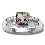 0.12 Cts Diamond & 0.89 Cts Mystic Topaz Ring in 14K White Gold