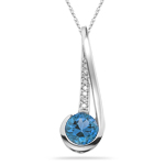 2.22 Cts Diamond & Swiss BlueTopaz Slide Pendant in 14K White Gold