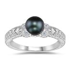 0.04 Cts Diamond & 6 mm Black Pearl Antique Ring in 14K White Gold
