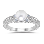 0.04 Cts Diamond & 6 mm AA Round White Cultured Pearl Antique Ring in 14KW Gold