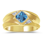 0.02 Cts Diamond & 0.89 Cts Swiss Blue Topaz Men's Ring in 14K Yellow Gold