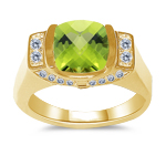 0.32 Cts Diamond & 2.04 Cts Peridot Ring in 14K Yellow Gold