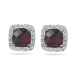 0.20 Cts Diamond & 5.72 Cts Garnet Earrings in 14K White Gold