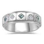 0.35 Cts Blue & White Diamond Mens Five Stone Band in 14K White Gold
