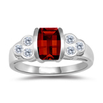 0.24 Cts Diamond & 7x5 mm Barrel-Cut Garnet Ring in 14K White Gold