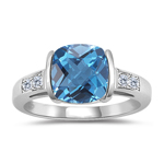 0.08 Cts Diamond & 2.12 Cts Swiss Blue Topaz Ring in 14K White Gold