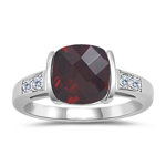 0.08 Cts Diamond & 2.86 Cts Garnet Ring in 14K White Gold