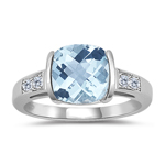 0.08 Cts Diamond & 1.94 Cts AA Aquamarine Ring in 14K White Gold