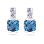 0.08 Ct Diamond & 1.78 Cts Swiss Blue Topaz Earrings in 14K White Gold