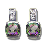 0.08 Cts Diamond & 1.78 Cts Mystic Topaz Earrings in 14K White Gold
