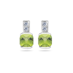 0.08 Cts Diamond & 2.04 Cts Peridot Earrings in 14K White Gold