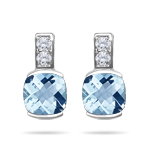 0.08 Cts Diamond & 1.83 Cts Aquamarine Earrings in 14K White Gold