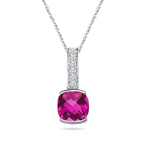 0.08 Cts Diamond & 2.12 Cts Pink Topaz Pendant in 14K White Gold